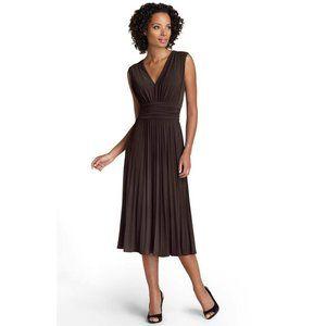 Suzi Chin Ruched Pleated Jersey V-Neck Dress 4 NEW